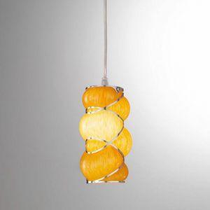 Orione Rs384-020, Lampada a sospensione in vetro soffiato arancio o rosa