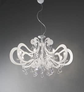 Ornella lampadario, Lampadario in metallo in stile moderno, varie finiture