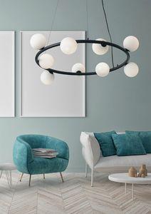 Pom�, Lampadario circolare, con sfere in vetro