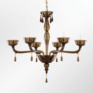 Portofino L0356-6-F2, Lampadario in vetro veneziano con gocce pendenti