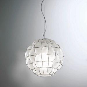 Pouff Rs383-035, Lampada a sospensione in vetro, prodotta artigianalmente