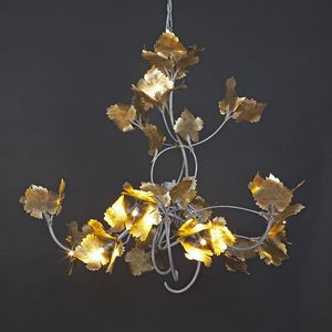 RASPO HL1073CH-15, Lampadario in ferro con foglie decorative