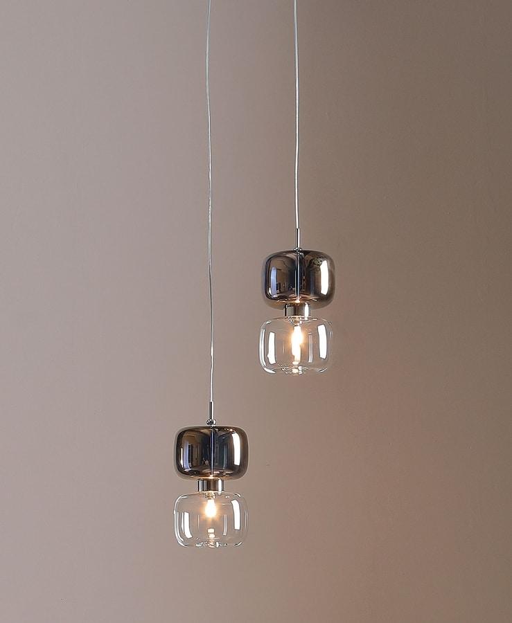 RETRO', Lampada da tavolo e a sospensione con diffusore in metallo e vetro