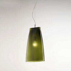 Seppia Ls623-045, Lampada in vetro soffiato, color verde oliva satinato