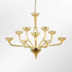 Velvet LE0359-5+5-A, Lampadario  in vetro con bracci rampanti