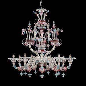 Villa Borghese R0746-9-CPZ, Lampadario Rezzonico in vetro colorato con fiori