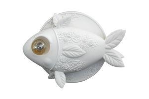Aprile AP132 1B INT, Lampada da parete a forma di pesce, in ceramica bianca