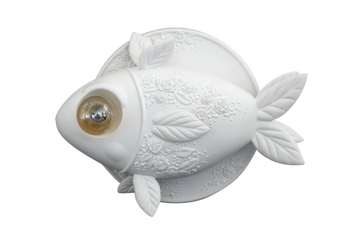 Lampada da parete a forma di pesce in ceramica bianca idfdesign