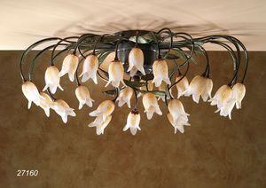 Art. 27160 Butterfly, Plafoniera con fiori in vetro di Murano
