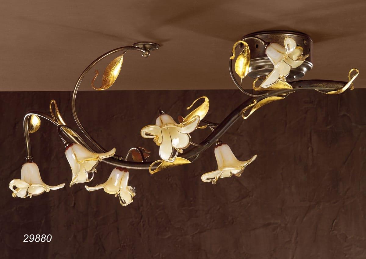 Lampadari E Plafoniere Abbinate : Plafoniera classica in vetro e ottone idfdesign