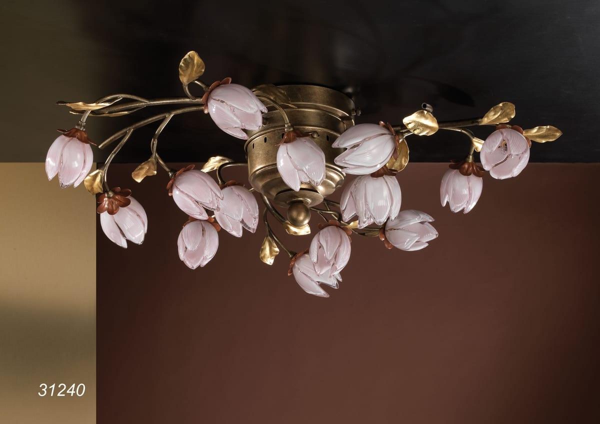Plafoniera Fiori : Plafoniera artigianale con fiori idfdesign