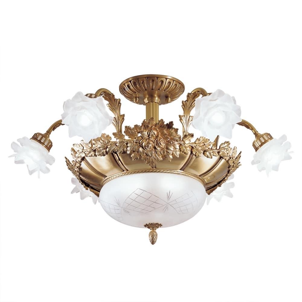 Art. 700/6+2SF, Plafoniera in oro, con 8 luci, con varie finiture