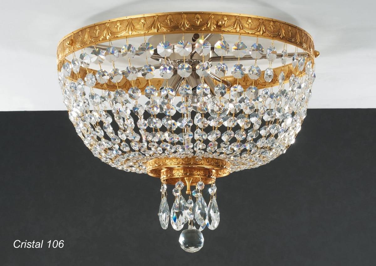 Plafoniere Cristallo Boemia : Plafoniera in ottone dorato con pendagli cristallo idfdesign