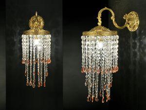 Art. Shower, Lampada da parete in ottone e cristallo