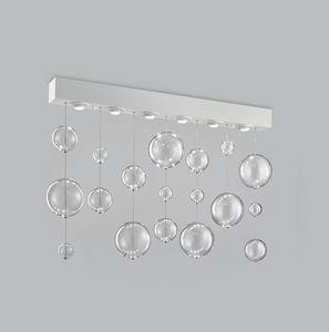 BOLERO H 70, Plafoniera rettangolare con sfere in vetro soffiato