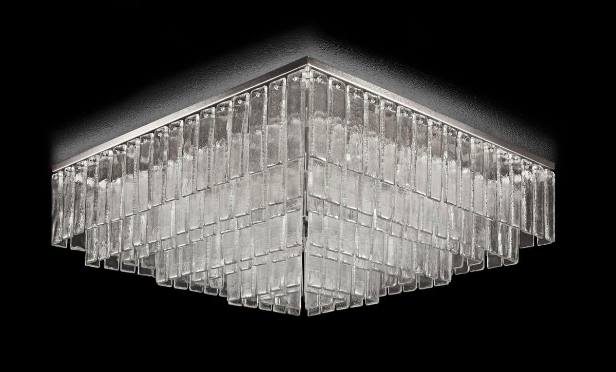 Plafoniere Di Cristallo : Plafoniera quadrata con listelli in cristallo idfdesign