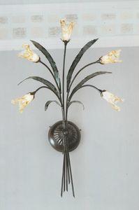 Clivia 1060/A5L, Lampada da parete in ferro e vetro di Murano