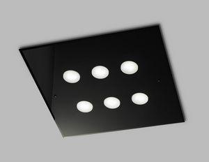 DADO L 60 x 60, Plafoniera quadrata in vetro