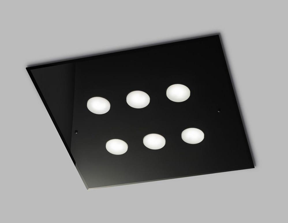Plafoniere Quadrata : Plafoniera quadrata in vetro idfdesign