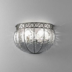 Harem Ma160-030, Lampada da parete in stile classico, in metallo e vetro