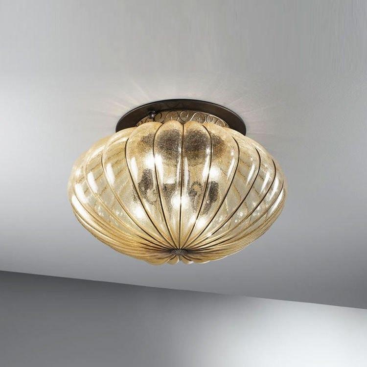 Plafoniere Vetro Soffiato : Plafoniera classica in vetro ambra antico idfdesign