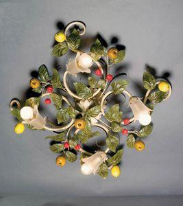 PL.7420/4, Plafoniera con foglie e frutta decorative