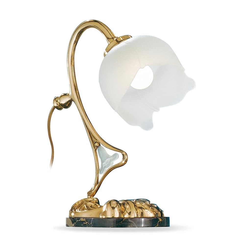 Art. 1400/L, Lampada da tavolo in ottone lucido, per uffici