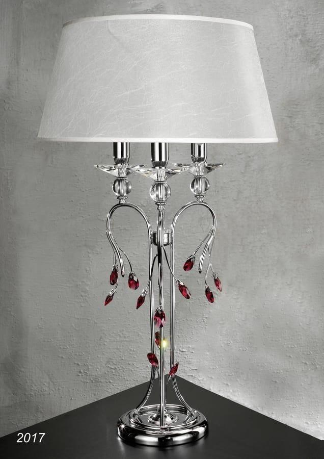 Lampada da tavolo ottone cromato e cristallo con paralume - Immagini lampade da tavolo ...