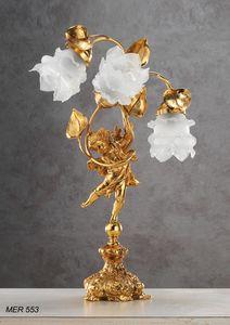 Art. MER 553, Lampada da tavolo con rose in vetro di Murano