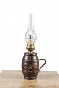 Art. SL 157, Lampada da tavolo, a forma di botte, stile country