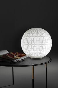 Ball, Lampada in vetro, con decorazioni geometriche