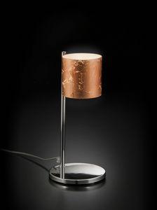 BRICK H 32, Lampada da tavolo con paralume in vetro decorato