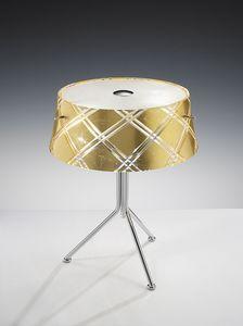 CORALLO H 42, Lampada da tavolo in metallo e vetro inciso a mano