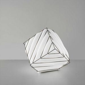 Dado Rt431-030, Lampada da tavolo in metallo e vetro bianco