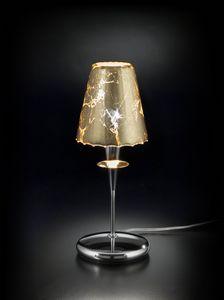 OPERA H 35, Lampada da tavolo con paralume in foglia oro