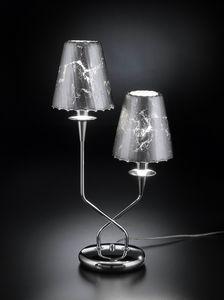 OPERA H 50, Lampada da tavolo con 2 paralumi in cristallo
