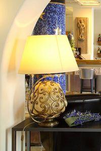 ORCIO HL1030TA-1GL, Lampada da tavolo con paralume in tessuto