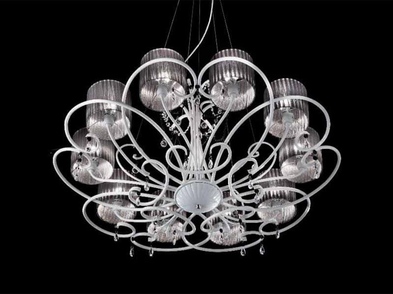Lampada classica a sospensione con gocce in cristallo sw idfdesign