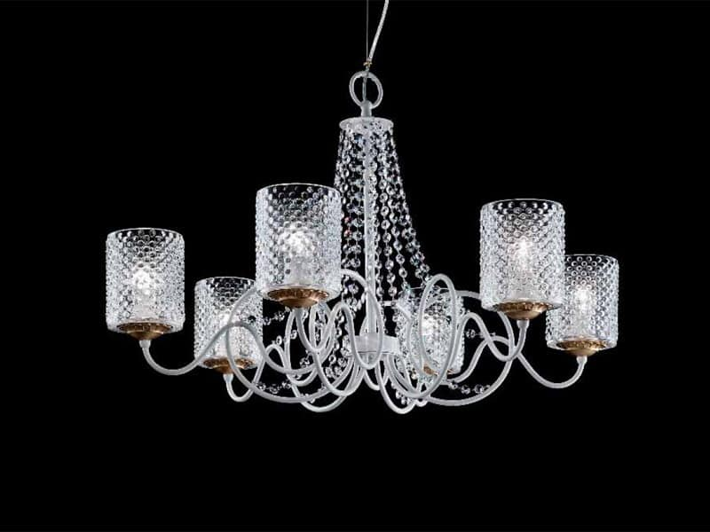 Class lampadario, Lampadario classico con paralumi in organza e pendenti Sw