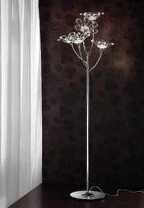 Daisy piantana, Lampada da terra in metallo cromato con diffusori in vetro