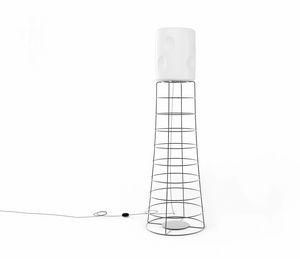 ET, Lampada in tondino di ferro, paralume plastico