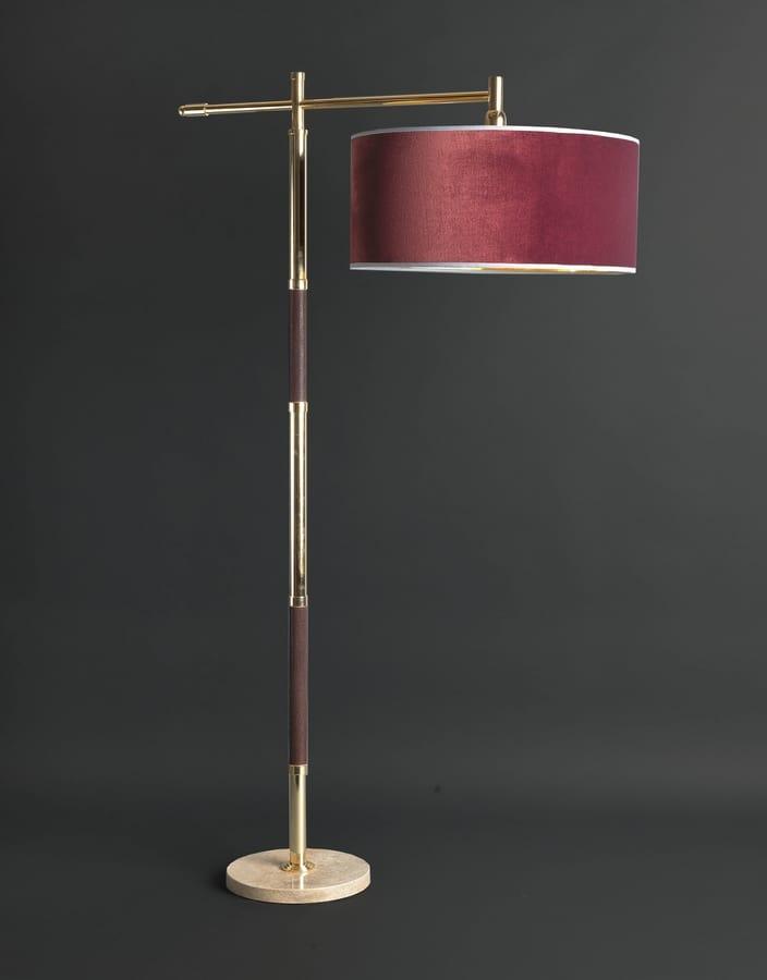 GALUCHAT HL1006FL-1-DW, Lampada da terra con fusto in ottone
