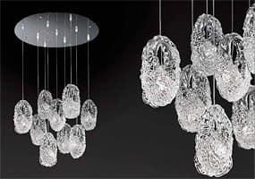 Genesi lampadario, Lampadario in vetro con 5 diffusori pendenti in vetro