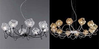 Lampadario in vetro lavorato con tecniche muranesi idfdesign - Kronleuchter stehlampe ...