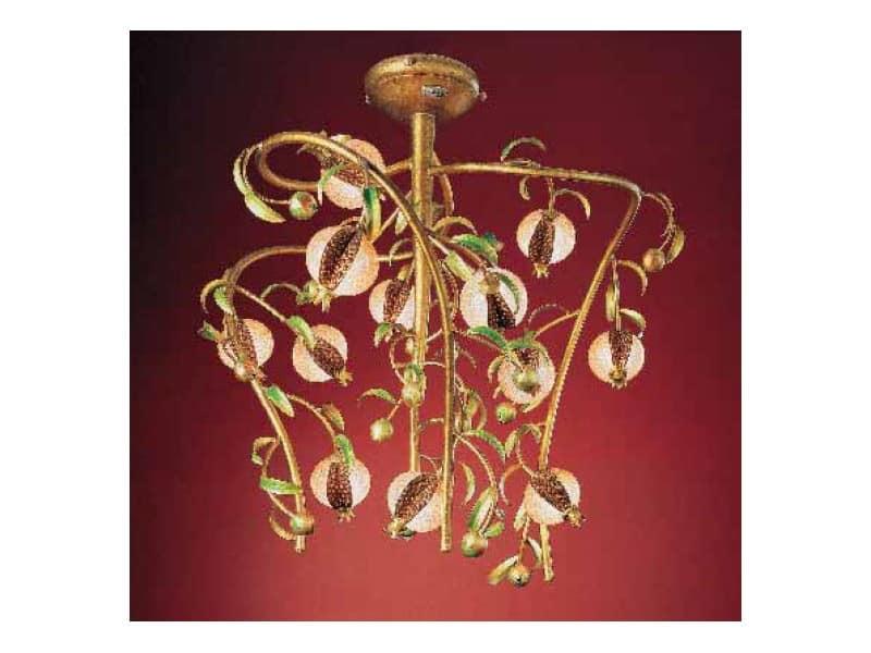 Melograno lampadario, Lampadario classico in metallo dorato e vetro craquelé