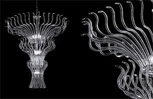 Pandora lampadario, Lampadario con elementi in vetro componibili e pendenti Sw