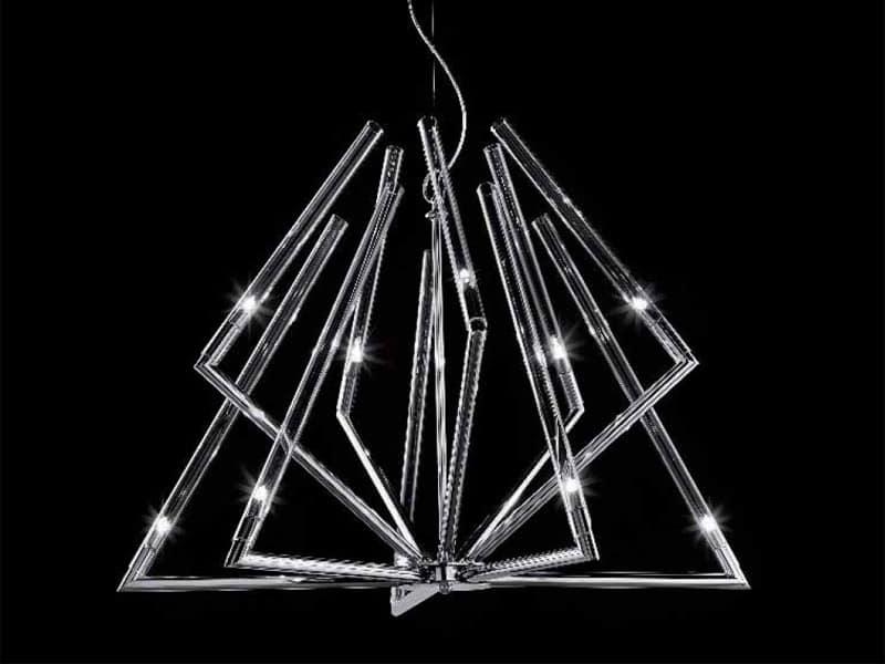 Stark lampadario, Lampada a sospensione con diffusori in vetro