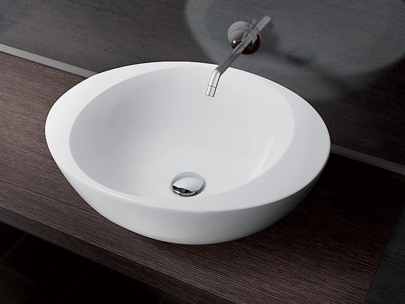 Lavabo tondo da appoggio in ceramica idfdesign for Prisma arredo negozi