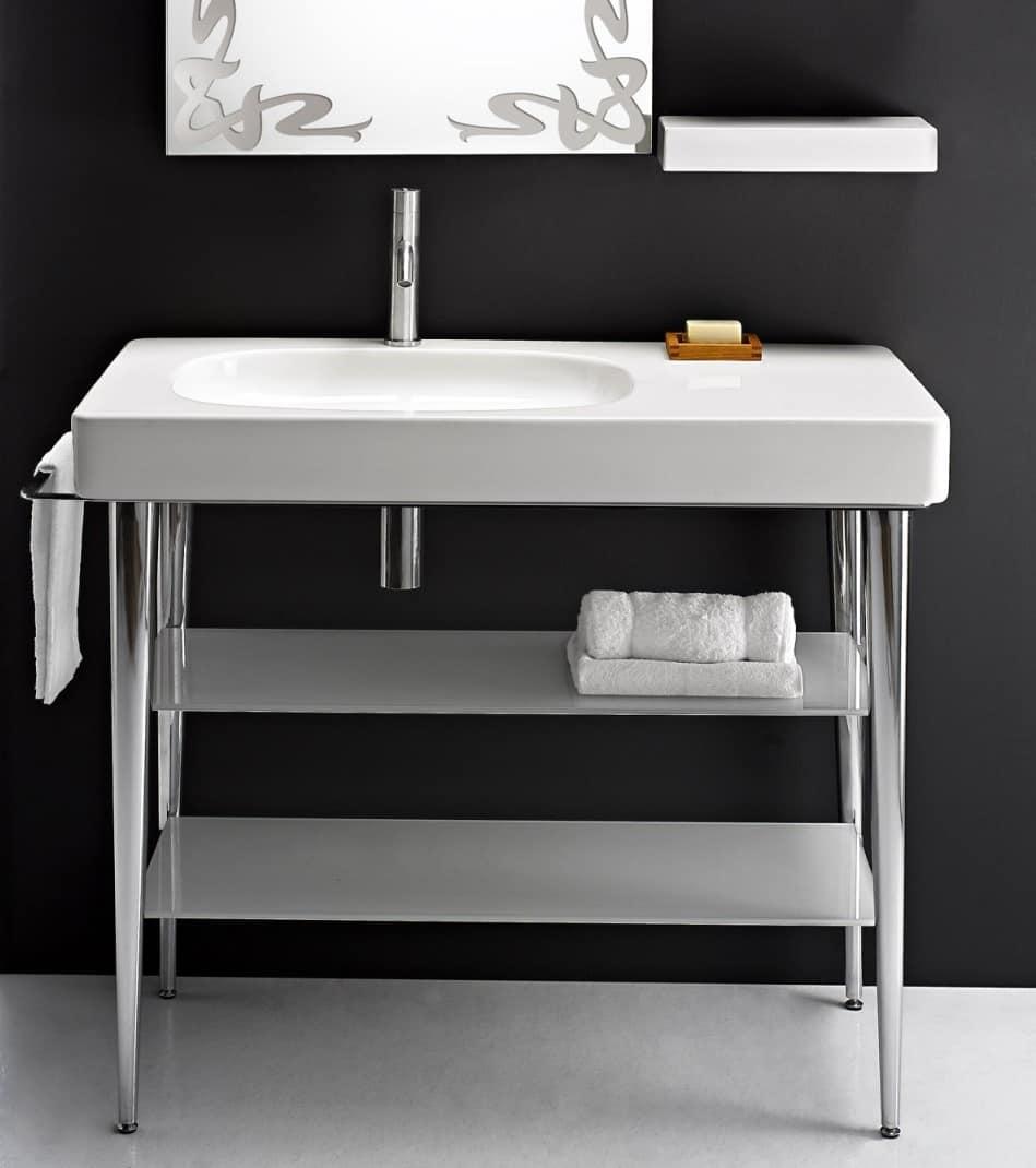 Lavabo A Consolle In Ceramica.Lavabo In Ceramica Con Consolle In Metallo E Piani In Vetro Idfdesign