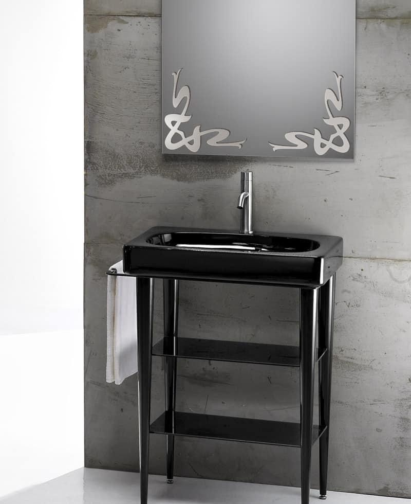 piani in vetro e lavabi craquele : ... BASIN, Lavabo in ceramica con consolle in metallo e piani in vetro
